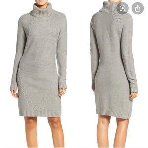 Eliza J Cable Knit Gray Sweater Dress